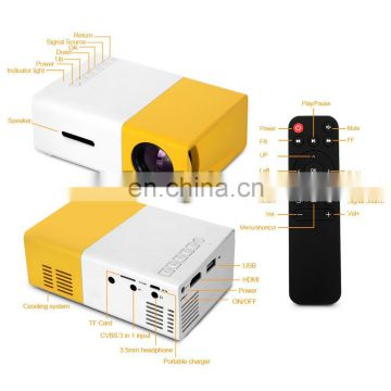 YG300 Built-in Battery Portable Mini Pocket Projector HD 1080P Mini Projector YG300 with TV Tuner Outdoor Home Cinema Theater