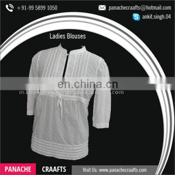 High Quality Cotton White Office Lady's Shirt Blouse Top