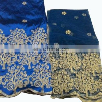 New Nigerian African Blue Raw Silk George Fabric Wrapper With Matching Blouse