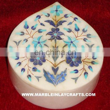 Inlay Marble Box, White Marble Inlay Jewellery Box