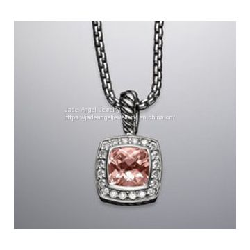 DY Sterling Silver Inspired Petite Morganite  Diamonds Albion Pendant  with Chain