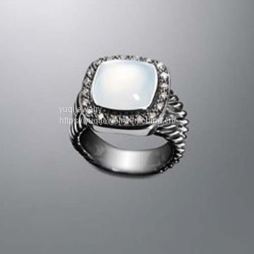 925 Silver Jewelry 11mm Moon Quartz Moonlight Ice Ring(R-072)