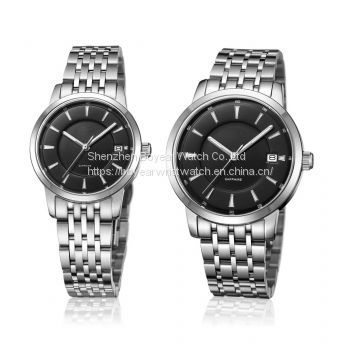 Couples Lovers′ Watch Alloy Wrist Watch Stainless Steel Analog Quartz Watch OEM Fashion Watch