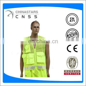 multi function pockets mesh safety vest