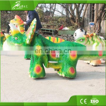 KAWAH Rubber Material Park Rides Professional Cartoon Dinosaur Toy Car For Kids