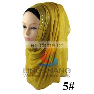 Hot wholesale fashion muslim women hijab scarf with rivet