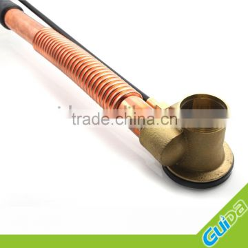 Ningbo Guida Brass bathtub waste drain shower faucet accessories with push button /copper color pipe