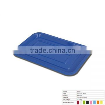 BX076 Blue Square Two Circles Stainless Steel Plate For Kitchen Accessories