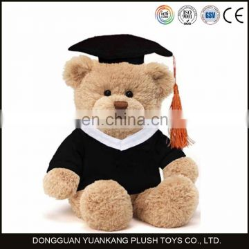 Uniform stuffed graduation teddy bear plush doll toy for ceremony gifts with glasses