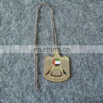 UAE national day die cut Falcon shape with stone metal necklace for gifts