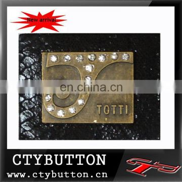 metal logo onside pu leather plate for garment