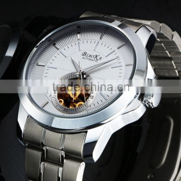 New Hight Quality Stainless Steel Back Watches Men Skeleton Wrist watch WM433