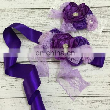 Purple Satin Ribbon Lace Sash Flower Headband Sets With Bows & Feather Luxe Pearl Flower Crown Photo Prop