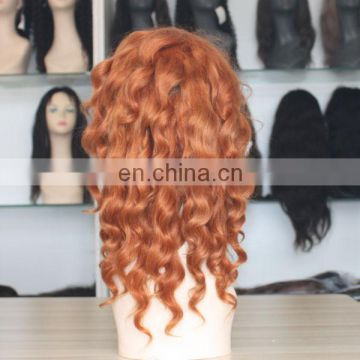 Customized human hair wig to quality orange color loose silk base full lace wig