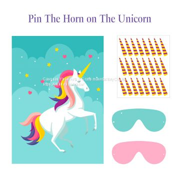 Pin The Horn on The Unicorn Party Game for Kids Birthday Party Decorations Rainbow Unicorn Party Supplies