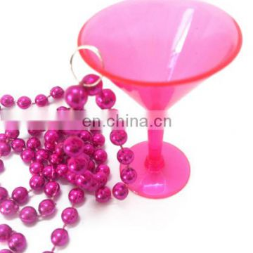 red plastic bead necklace bead with plastic goblet for Irish Festival