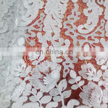 2016 white bridal embroidered tulle lace fabric/african french tulle lace embroidered fabric/french tull lace fabric