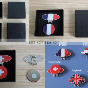 UK/ German/ Switzerland/ France /Netherlands national flag metal golf ball marker hat clip set