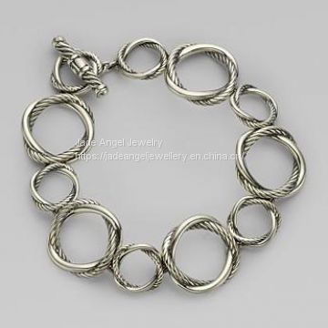 DY Inspired 925 Sterling Silver Round Linked Infinity Bracelet