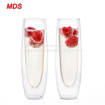Borosilicate glass design cylinder 150ml double wall glass cups