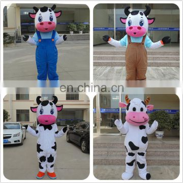 Factory direct sale customized cow mascot costume for adults