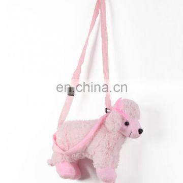 Creative factory price stuffed animal shaped plush dog handbag for kids