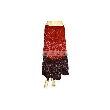 Bandhej Long Skirt Bandhani Sequins Work Bohemian Belly Dance Gypsy Hip Long Skirt Boho Skirt Hippie Gypsy wrap Skirts wholesale