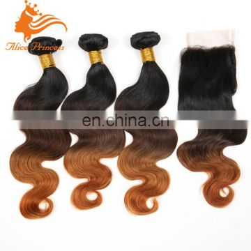 3p Human hair weft with 1p closure virgin brazilian human hair 3T ombre body wave hair body wave