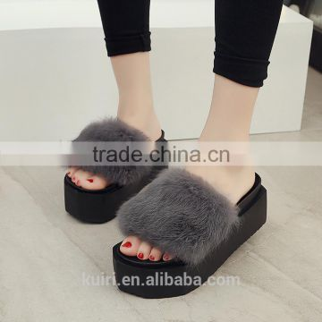 2017 High-Heeled Rabbit Fur Slippers Women Fashion Autumn Winter Fur Slides Platform Women Shoes Fslipper-4
