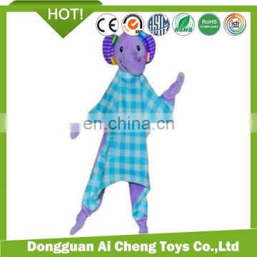 lovely baby comforter of plush toys made by polyester fabric pass CE testing