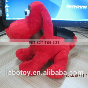 Custom design stuffed plush dog toy plush dog with necklet and ribbon