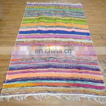 Cotton Chindi Rag Rug Floor Mat Recycled Throw Carpet Woven Runner Yoga Mat Dari