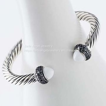 Sterling Silver DY 7mm Black White Cable Candy Bracelet for Women