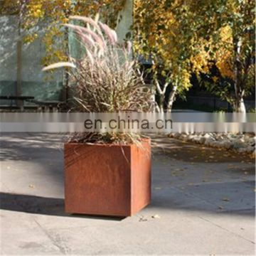 Western Style Weather Resistant 2mm Corten Steel Long Garden Flowerpots