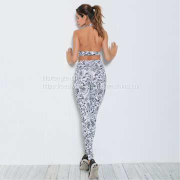 Women Yoga Fitness Bra Pants Leggings Set Gym Workout Sports Activewear for Women