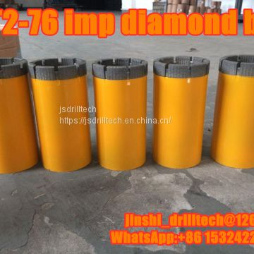 T2-76 impregnated diamond core drill bits, exploration drilling bit, rock coring, geotechnical drilling bits