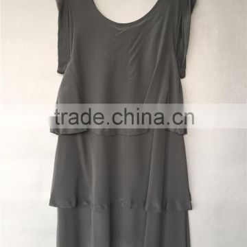 100% Silk CDC U Neck A line Layered Dress