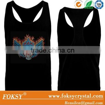 skull rhinestone hotfix iron on transfer lace back stringer tank top