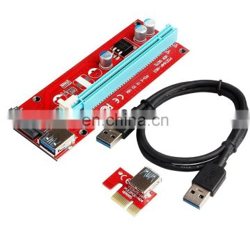 USB 3.0 PCI-E X16 Riser Card Adapter, USB3.0 PCI-E Express 1X to 16X Riser Card Adapter with SATA Power Slot Connector+USB Cable