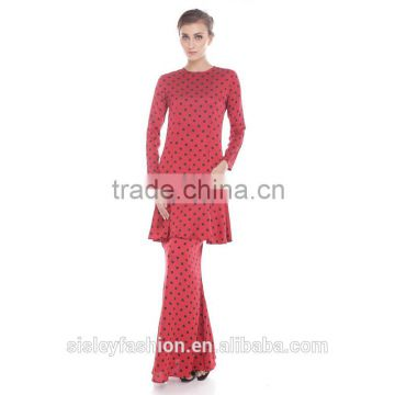 2016 hot sale women islamic dress design ladies custom printing baju kurung modern dress D266