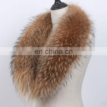Fluffy natural raccoon fur shawl collar hand made custom wholesale