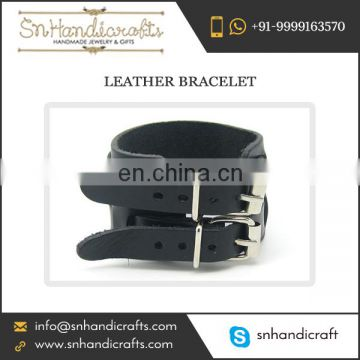 Get Bargain Price Discount on Large Leather Bracelet Having Two Stylish Metal Locks