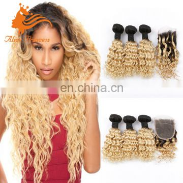 8A Grade Blonde Hair Bundles With Lace Closure Omber 1BT613 Curly Brzailian Virgin Hair Bundles With Closure Blonde