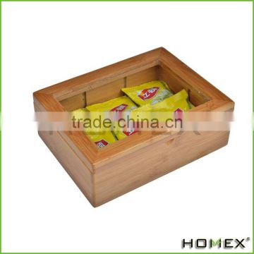 Function Bamboo Tea Box Bag Storage Box With 6 Divide /Homex_Factory