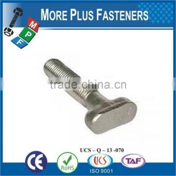Made In Taiwan Metric Stainless Steel Zinc Plated T Bolt