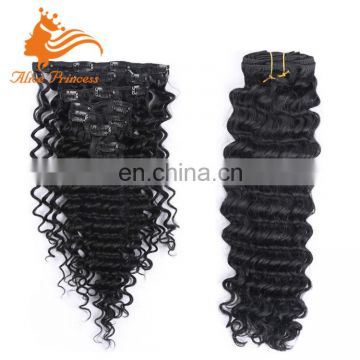 "Alice Princess Clip In Hair Extensions Products Deep Wave Natural Color Virign Peruvian Hair Extension Bundles 10-24"" In Stock"