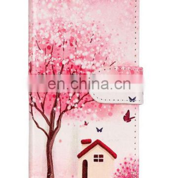 Tree and house design pu wallet stand case with card slot for iphone 7 plus