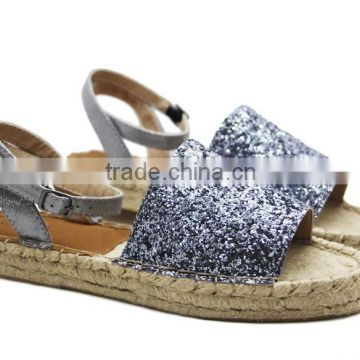 74ae24db699 Glitter sparkling jute sole peep toe shoes fashion shoe ladies flat loafer  shoes espadrille of ballerina flat shoes from China Suppliers - 128614285