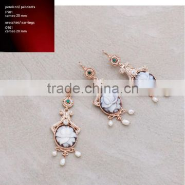 Wholesale 925 Sterling Silver Elegant Middle East Handmade Cameo with Pearl Earrings Made in Italy O901 cameo 20mm