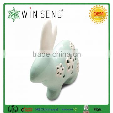 ceramic rabbit shape home decor with hollowed out shape
